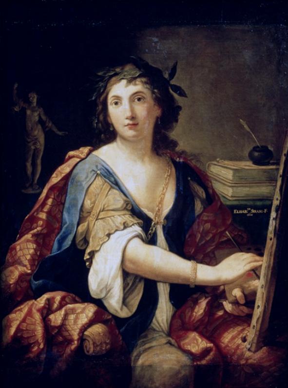 Cette image est un autoportrait d'Elisabetta Sirani en allégorie de la peinture. Elle s'y représente assise devant un tableau sur un chevalet, pinceau dans la main droite et chevalet dans la main gauche. Elle porte une robe bleue et blanche et un manteau rouge. Derrière elle, on voit à droite des livres et un encrier, à gauche une statuette. Elle porte une couronne de lauriers.