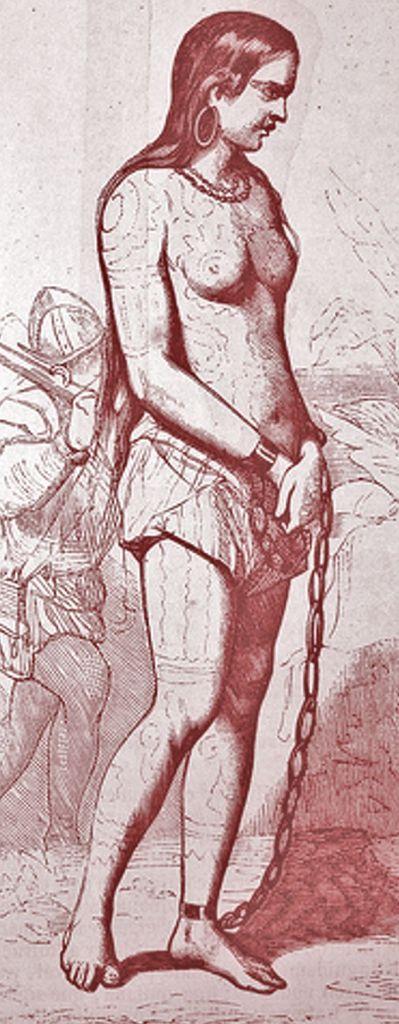 Cette gravure représente la reine Anacaona debout et captive, les poignets et la cheville gauche retenus par des chaînes. Elle est vêtue d'un pagne, porte un collier et des boucles d'oreille. Ses cheveux longs et sombres sont libres, son corps est peint. A l'arrière-plan, un soldat espagnol.