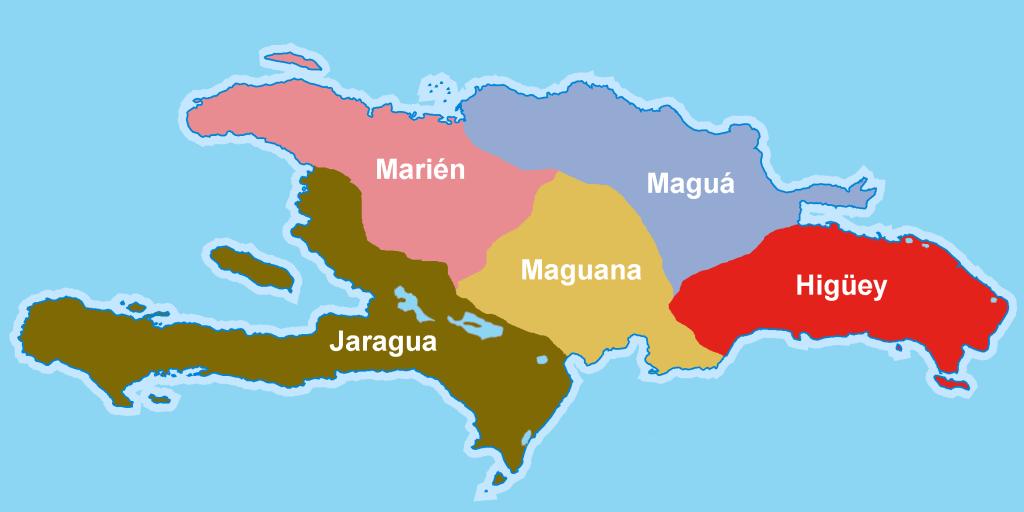 Ce plan représente l'île d'Ayiti divisés en cinq cacicats, les cacicats référencés par les colons espagnols : Xaragua au sud-ouest, Marién au nord-ouest, Maguana au centre-sud, Magua au nord est-est et Higüey au sud-est.