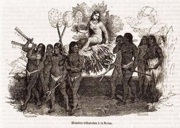 Cette gravure en noir et blanc représente la reine Anacaona portée en triomphe par une dizaine de ses sujets, qui l'accompagnent en jouant de la musique ou en l'éventant.