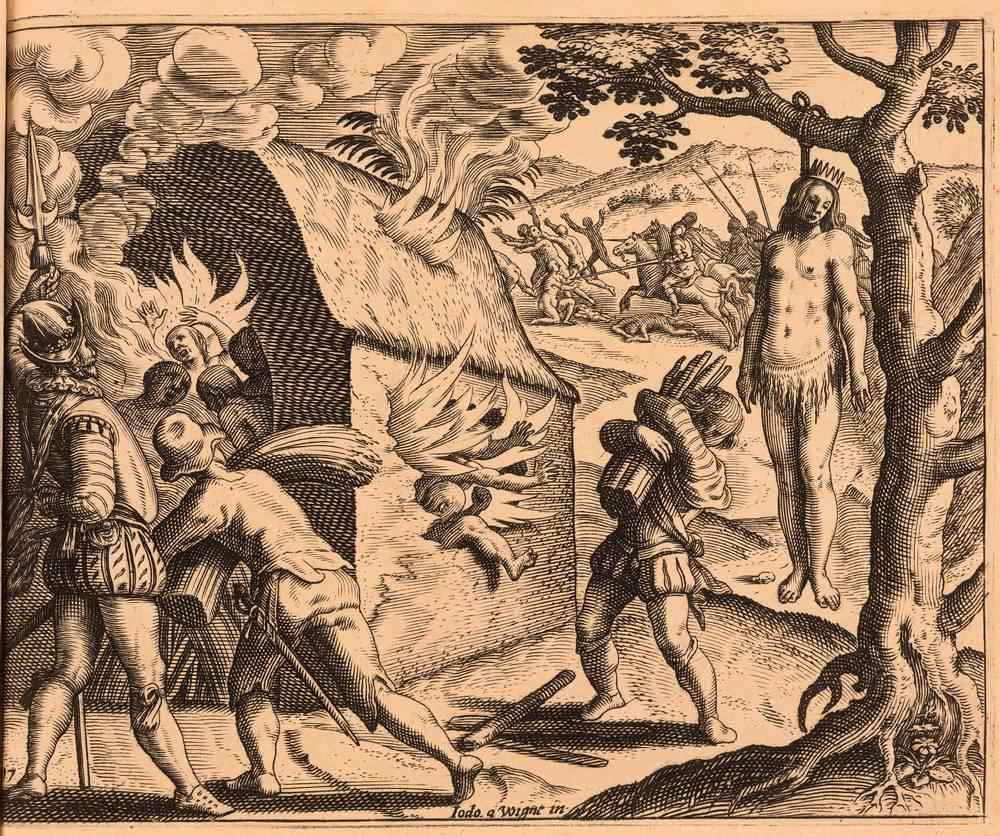 Cette gravure représente le massacre de Xaragua en 1503. A gauche, des natifs d'Ayiti meurent dans les flammes d'un bâtiment tandis qu'un soldat espagnol surveille la scène et que des colons alimentent le feu. A droite, la reine Anacaona est pendue aux branches d'un arbre. En arrière-plan, des colons espagnols à cheval pourchassent les sujets de la reine qui s'enfuient.