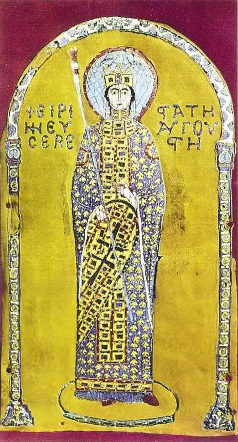 Cette image représente probablement l'impératrice byzantine Irène Doukas. Elle est représentée debout en vêtements riches, sur fond d'or.