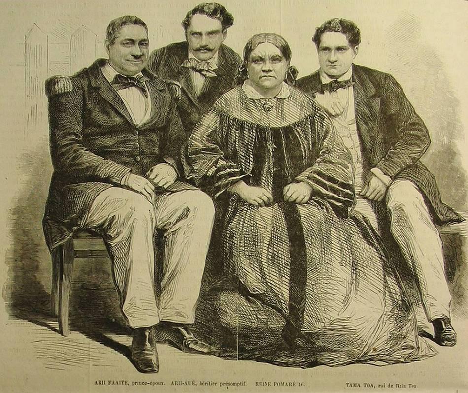 Cette gravure représente Pomare IV, son mari Ariʻifaaite et deux de leurs fils adultes , le prince Teratane et le prince Tamatoa. Ils sont assis, les parents devant et les enfants derrière, et vêtus à l'européenne. Pomare porte une robe longue et ample, tandis que son mari et ses fils portent un costume sombre et un noeud papillon.