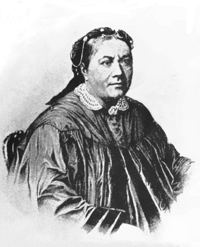 Cette image est un portrait en noir et blanc de la reine Pomare IV. Elle est vêtu à l'européenne, avec un manteau très couvrant à col en dentelle et une coiffe sophistiquée.