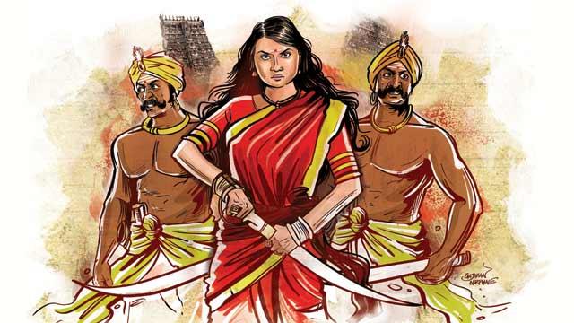 Cette image est un dessin représentant Rani Velu Nachiyar et les frères Marudhu. La reine est au premier plan, les deux frères légèrement en retrait à ses côtés. Elle porte une tenue rouge et s'apprête à dégainer un sabre, l'air déterminé. Les deux frères ont également une arme à la main.