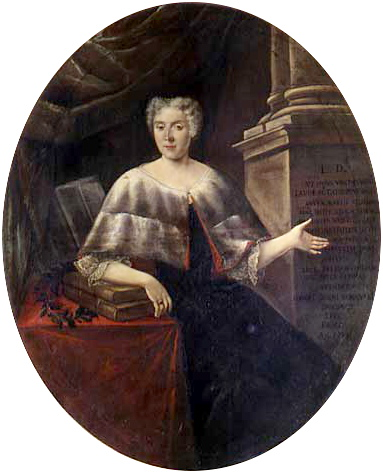 Cette image est une peinture représentant Laura Bassi. Elle est assise, le bras droit posé sur deux livres, eux-mêmes posés sur une table couverte d'un tissu rouge.