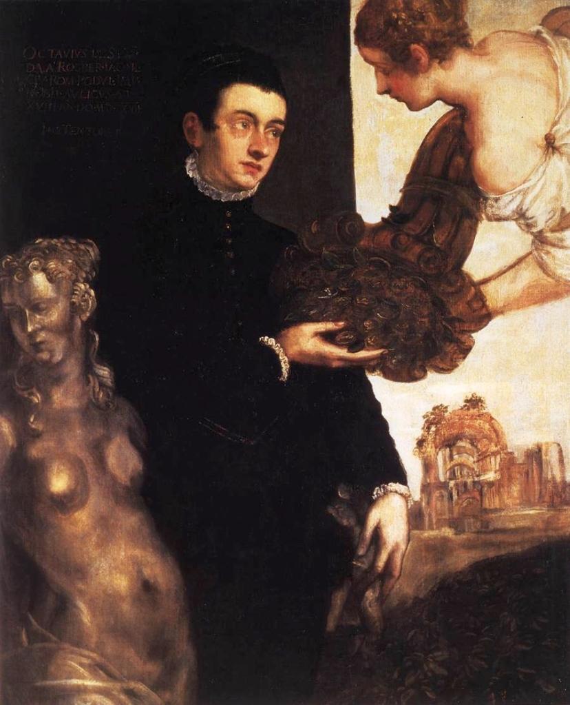 Cette image est un portrait d'Ottavio Strada attribué à Marietta Robusti. Il montre un jeune homme vêtu de noir.