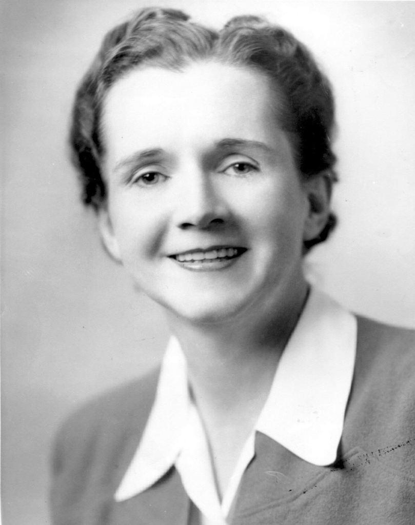 Cette image est une photographie en noir et blanc de Rachel Carson. Elle est vêtue d'une chemise blanche et d'une veste. Elle porte les cheveux courts. Elle sourit à la caméra.