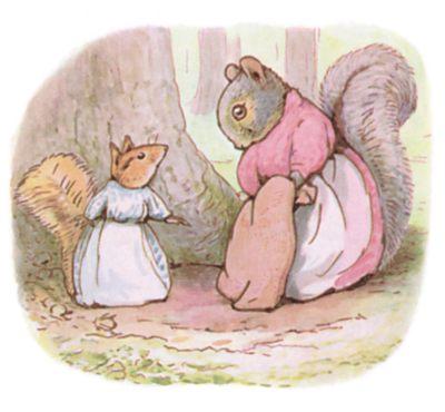 Cette image montre un extrait du livre de Beatrix Potter The Tale of Timmy Tiptoes ; on y voit deux écureuils discuter.
