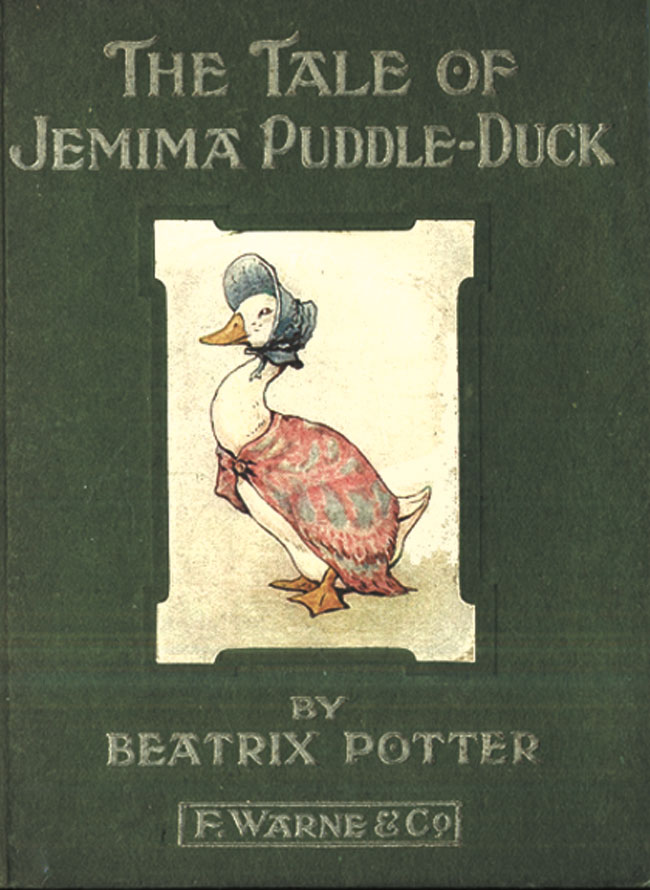 Cette image montre la couverture du livre de Beatrix Potter The Tale of Jemina Puddle Duck