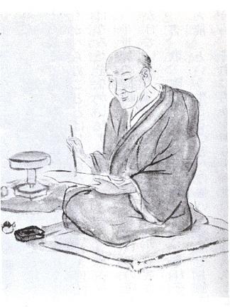 Cette image est un dessin montrant Otagaki Rengetsu assise, en train de peindre.