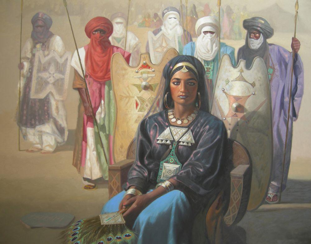 Cette peinture de Hocine Ziani représente la reine Tin Hinan. Elle est assise sur un trône de bois au premier plan, tenant un éventail de plumes de paon. Six Touaregs se tiennent derrière elle, tenant lances et boucliers. Derrière eux, en arrière-plan, se devine un campement touareg.