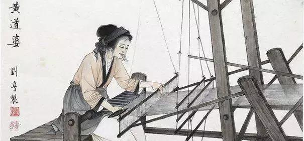 Ce dessin représente une femme chinoise en train de tisser à l'aide d'un métier à tisser.